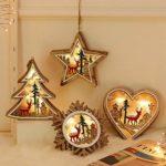 LED en bois Love Star Neige Arbre de Noël Veilleuse Fée Lumières pour Chambre Décoration Enfant Enfants Cadeau de Noël Vacances
