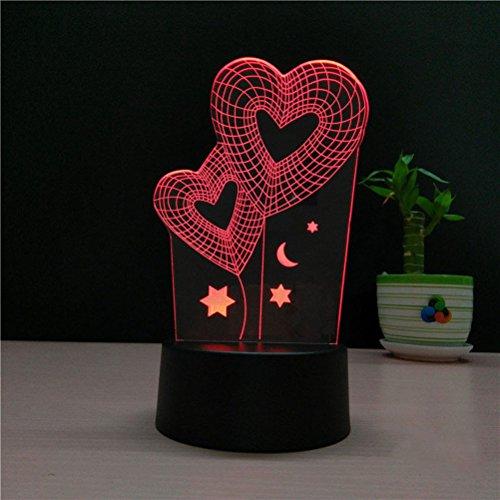 ledmomo 3D Lampe Veilleuse Lumière d'ambiance Lampes de table Décoration cœur 7couleurs