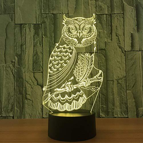 RMRM 7 couleurs LED Veilleuse 3D Chouette LED Lampe de Bureau 7 Couleurs Changement de Lumière de Nuit Maison Enfant Chambre Bébé Sommeil Lumière Décor Mode Vacances Cadeaux