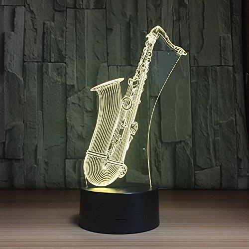saxophone 3d veilleuse lampe maison intelligente lampe led à économie d'énergie