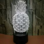 Vente En Gros Ananas 3D Veilleuse Tactile Usb Led Enfants Lumières Lampes Interrupteur Belle 7 Changement De Couleur Lampe 3D