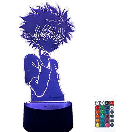Lampe de nuit 3D Anime Hunter X Hunter 7 couleurs lampe pour enfants Hisoka Killua Zoldyck Kurapika Figure veilleuse tactile télécommande lumière LED maison chambre décor lumière