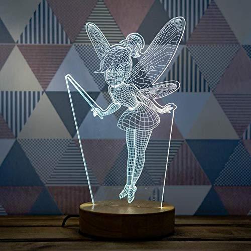Luminology Lampe Illusion 3D – Veilleuse de Nuit 3D – Lampe de Bureau Bois – Lampe Nuit – Decoration de table pour Enfants, 3D Lampe de Fée