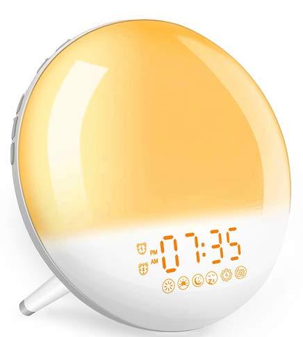 Réveil lumineux, réveil lumineux avec simulation de lever du soleil, 2 alarmes/fonction snooze/aide à dormir, 7 sons naturels et radio FM, 7 couleurs de veilleuse, réveil pour enfants et adultes