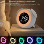 Réveil numérique LED avec lumière de réveil – Lampe de table avec mode coucher de soleil – Décoration de chambre d'enfant – Lumière colorée