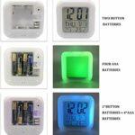 Zzaml Réveil Numérique Horloge Cube Dessin Animé Horloge Numérique Coloré 7 Couleurs Flash Changeant Jouets Enfants Réveil Veilleuse Horloges