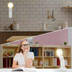 KANINO Veilleuse Enfant LED Contrôle Tactile Lumière de Nuit Enfants avec Rotation 360° Luminosité Réglable Mini Lampe de Bureau Rechargeable avec 2 Colles 3M pour Cuisine, Bureau, Armoire