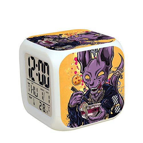 MBWLKJ Dragon Ball-Sticker Réveil,Anime Dragon Ball Modèle Réveil Numérique,Horloge À Changement De Couleur,Mignon Musique Réveil,Enfants Réveil,8X8x8 Cm.