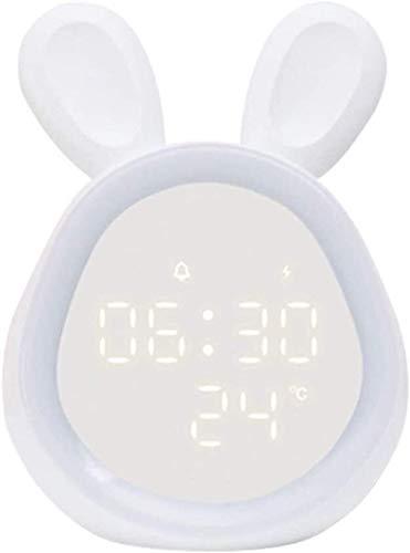 MGPLBYA Lumière de Nuit, Table de Chevet Rechargeable Lampe de Chevet Lampkids Réveil Chemin de Lapin Nuit de Nuit pour Filles Réveil Light Alarm Clock SNO (Couleur : White)
