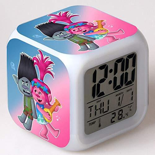 shiyueNB Film réveil Jouet réveil pour Enfants Dessin animé Couleur Changeante veilleuse LED Horloge numérique Horloge de Bureau électronique Orange