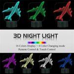 Veilleuse LED 3D pour enfants, 16 couleurs changeantes automatique, interrupteur tactile, lampe de décoration de bureau, cadeau d'anniversaire avec télécommande d'avion