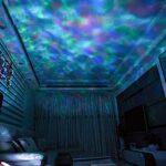 Coverage Ocean Wave Projecteur LED Night Light avec télécommande USB Cartes TF Cartes de musique Haut-parleur Aurora Dropits Projection (Color : White, Size : Changeable)