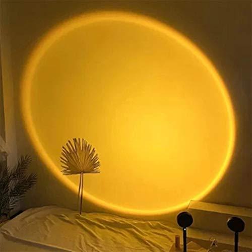 Lampe de Projection Au Coucher Du Soleil, Vision Romantique à 180 Degrés de Rotation Arc-en-ciel Projection Lumière LED Projecteur Rechargeable USB pour Le Décor de F(Color:Lampe de projection Sunset)
