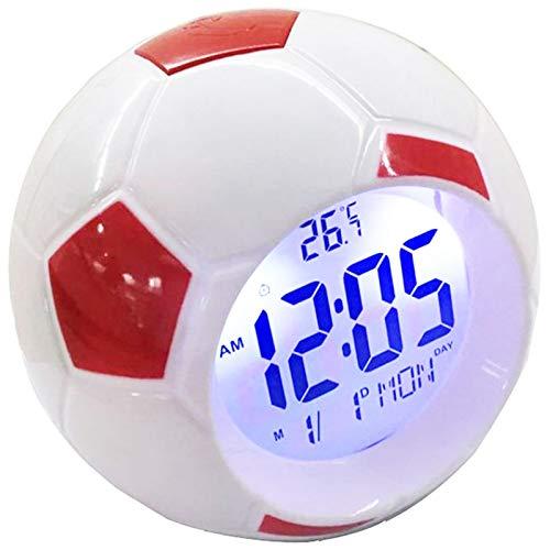 Rayocon Veilleuse avec Horloge de Football RéTro-éClairage NuméRique Lampes de Table Bureau de Football RéVeil pour Lampes D'éClairage de Chambre à Coucher Rouge
