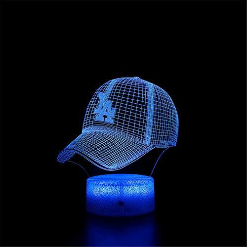 Veilleuse 3D Illusion Lampe Casquette de baseball 16 couleurs à intensité variable avec télécommande Smart Touch, cadeaux de Noël et d'anniversaire pour garçons et enfants