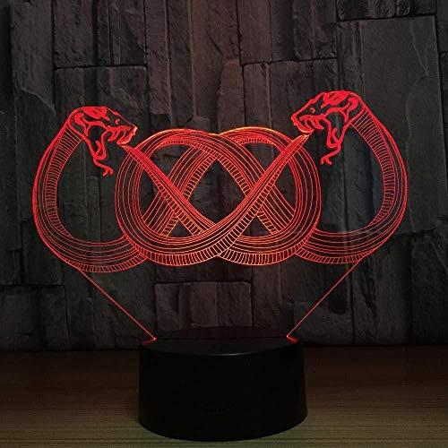 3D LED Lampe d'illusion Optique LED Veilleuse Lumière d'illusion 3D Décoration pour Enfant Chambre Chevet Table de Bébé Enfant Cadeau De Noël Fête Avec chargement USB, changement de couleur color