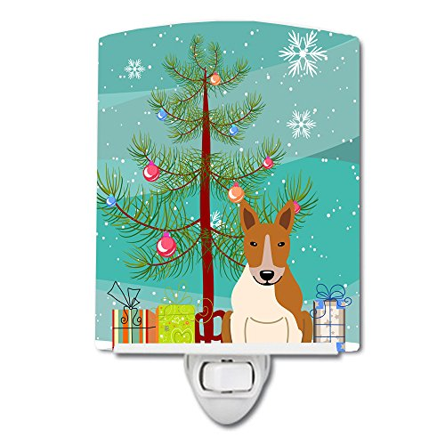 Caroline's Treasures Merry Christmas Tree Bull Terrier Veilleuse en céramique Rouge/Blanc 15,2 x 10,2 cm Multicolore