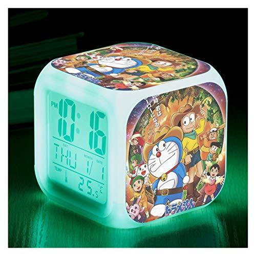 DONGMAISM Réveil de chevet pour enfants avec LED à changement de couleur et éclairage électronique (Couleur : bleu)