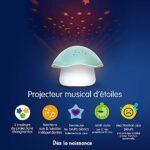 Pabobo Projecteur D'étoiles musical Champignon Bleu – veilleuse sommeil nomade pour bébé et enfants avec berceuse et bruits blancs et fonction automatique de réactivation si pleurs détectés