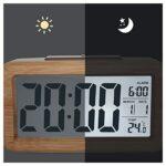 DYAN Réveil Numérique en Bois Grand Écran LED Veilleuse À Capteur Intelligent Alimentation par Batterie Convient Au De Chevet La Chambre,C