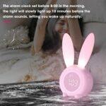 GDEVNSL Réveil pour Enfants, réveil de Lapin Mignon, veilleuse, Horloge de Lampe de Chevet créative, Fonction de Rappel de Lapin, réveils Cadeaux pour garçons Filles Enfants