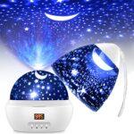 Veilleuse Enfant LED Lampe Projecteur Ciel Etoile 360°Rotation Lampe de Chevet avec 8 Couleurs et Auto Shut-Off Veilleuse Bebe pour Chambre Anniversaire Soirée Noël