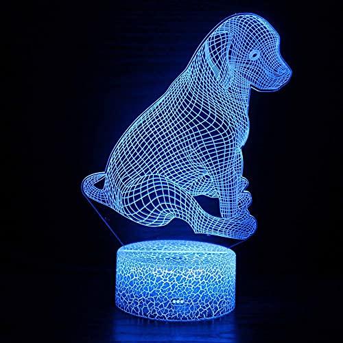 Veilleuse LED magique 3D en forme de chien, télécommande à changement de couleur, idée cadeau créative pour les enfants