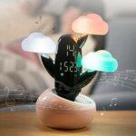 WHSS Réveil intelligent en forme de cactus – Lampe haut-parleur – Lumineux – Veilleuse créative – Muet – Décoration multifonction pour étudiants au lit – Blanc