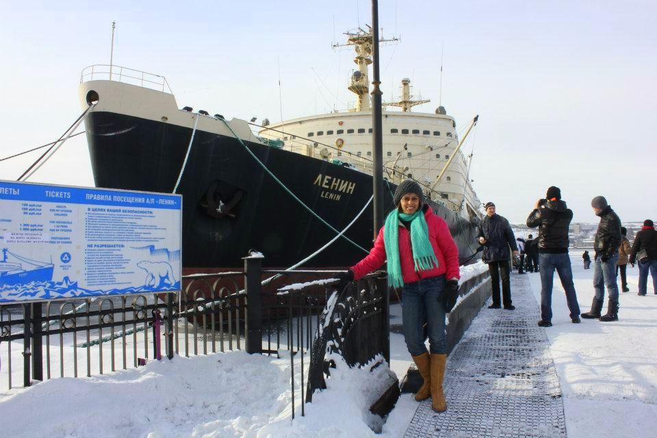 Ships stranded at Murmansk harbour