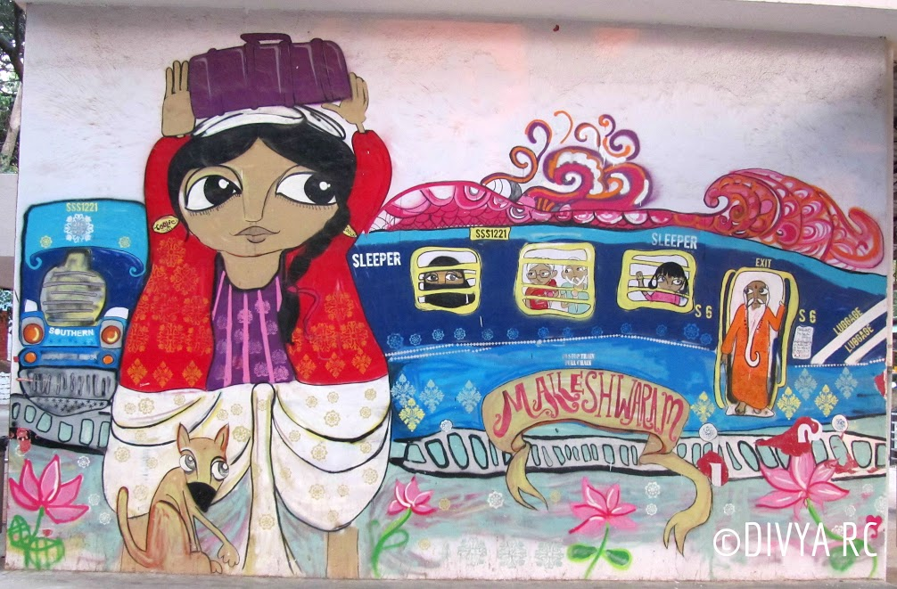 A beautiful whimsical graffiti Malleshwaram on the move is one of the best Bengaluru street art
