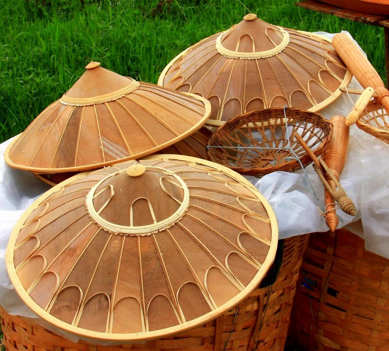 Conical bamboo hats of sellers who peddle at lake inle wekly markets
