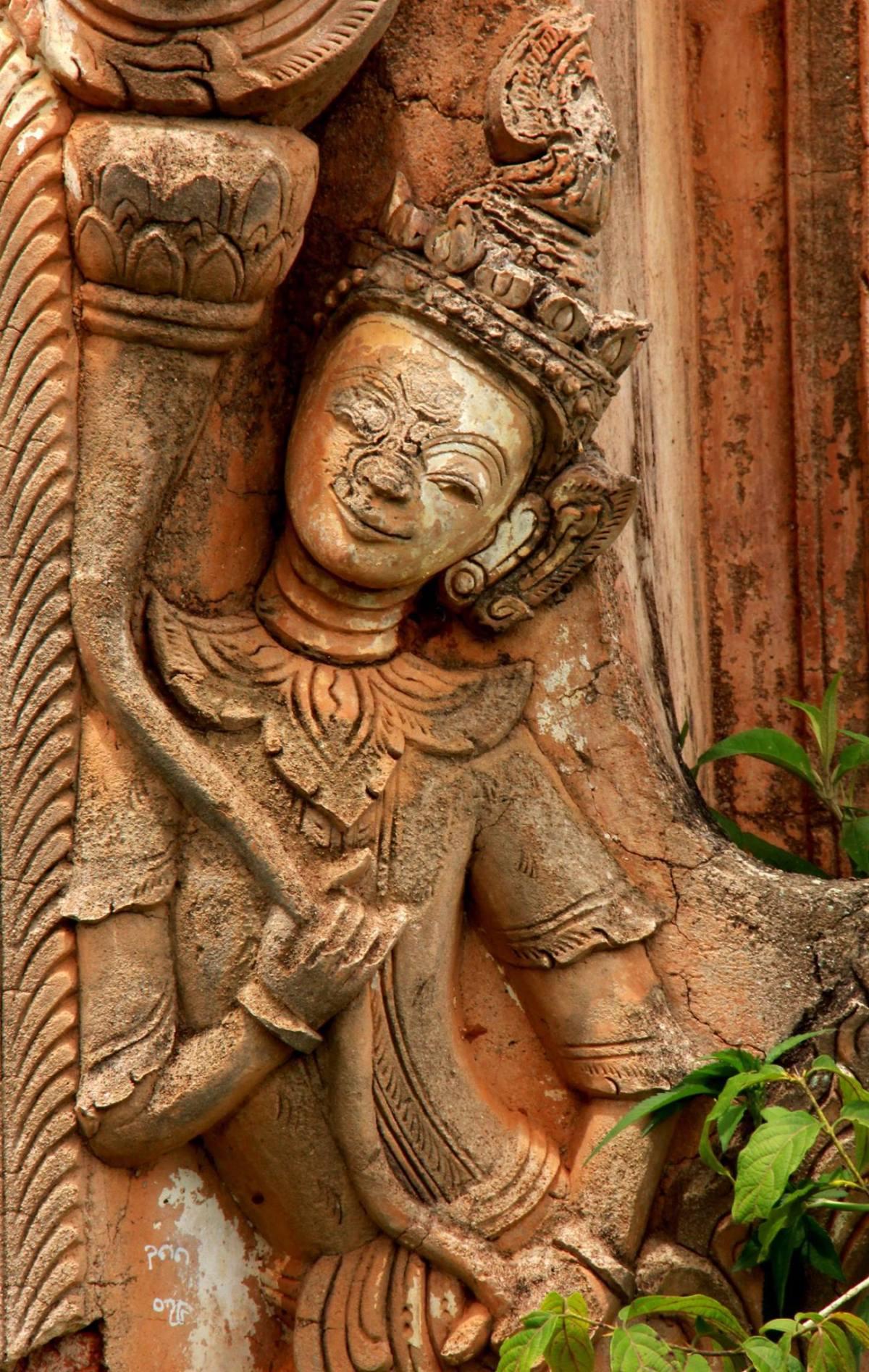 Beautiful carving of apsaras at Indein pagoda