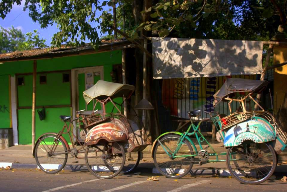 Becaks are typical Indonesian trishaws found in Java