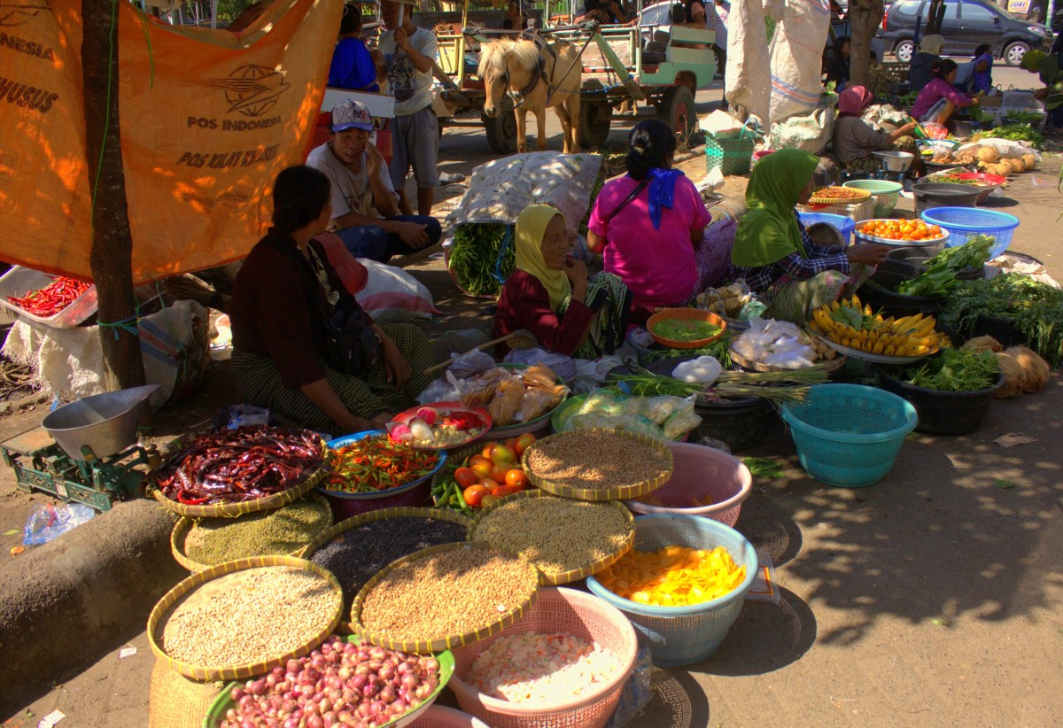 a local market in Lombok