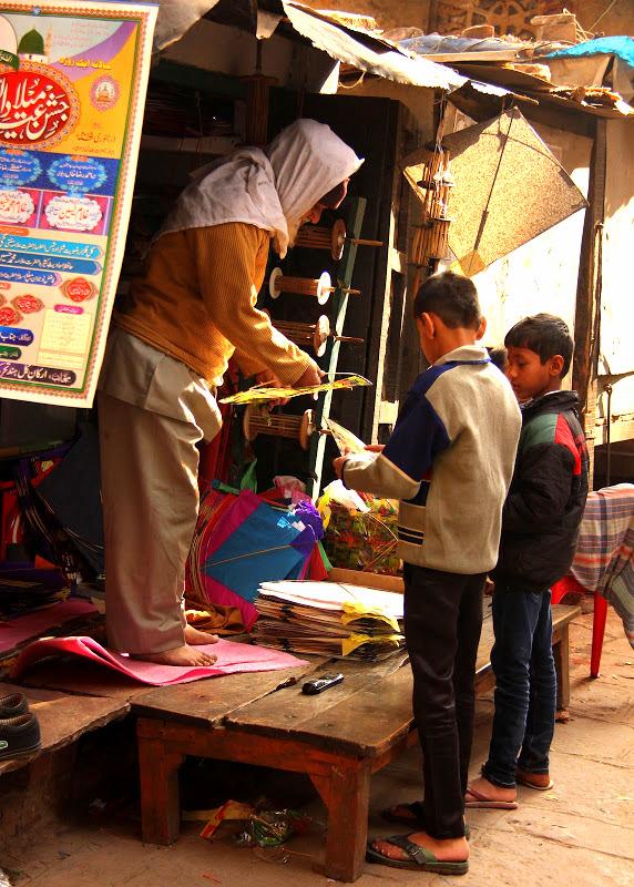 an old kite seller in Varanasi