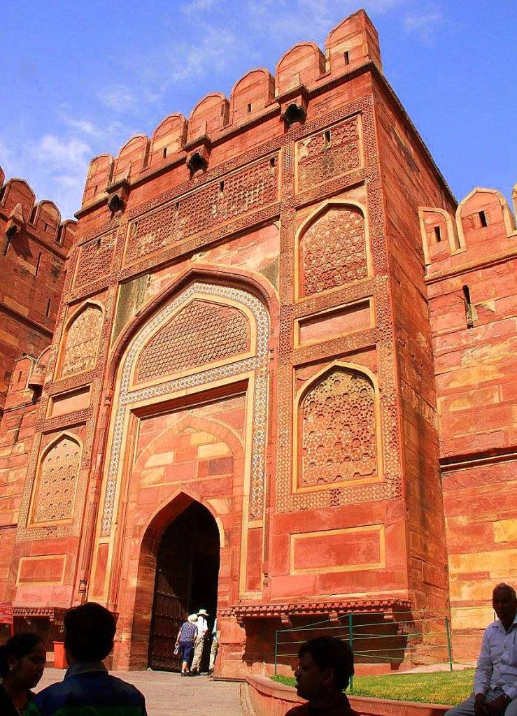 One of the massive gates of the Agra Fort
