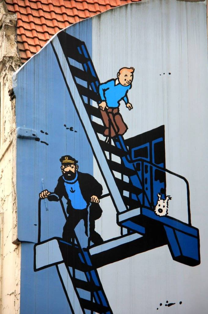 brussels street art involves Tintin