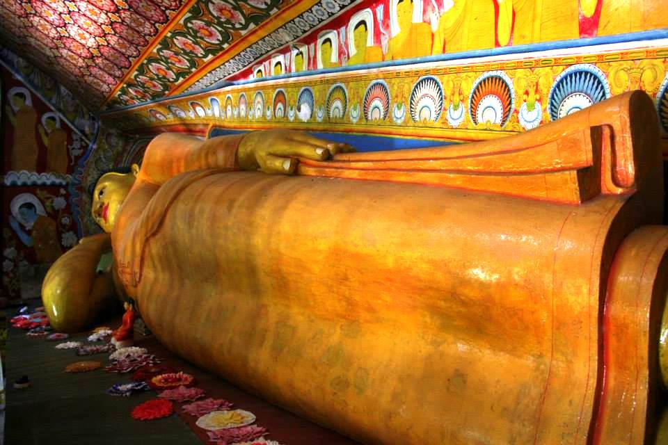The reclining Buddha at Yatagala cave temple near koggala