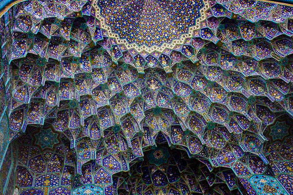 The intricate tile work of Friday Mosque in Esfahan in Iran