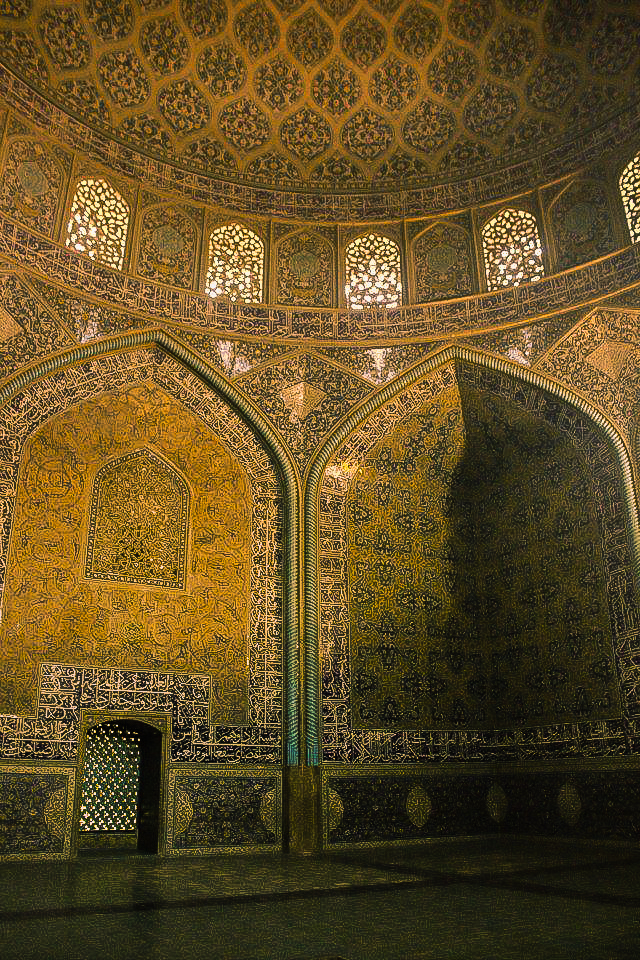 The beautiful interiors of Friday Mosque in Esfahan in Iran