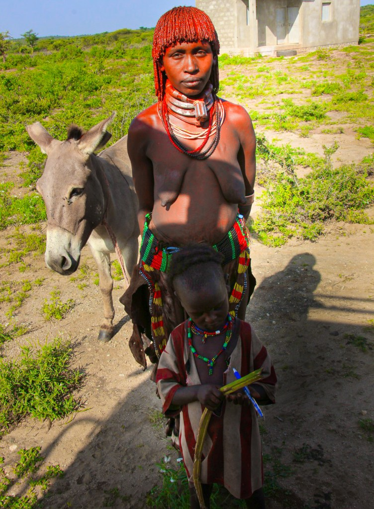 A Hamar mother and her child of the omo valley tribes
