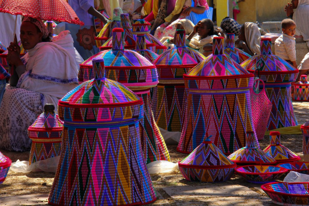 Tigray traditional baskets for sale in Aksum