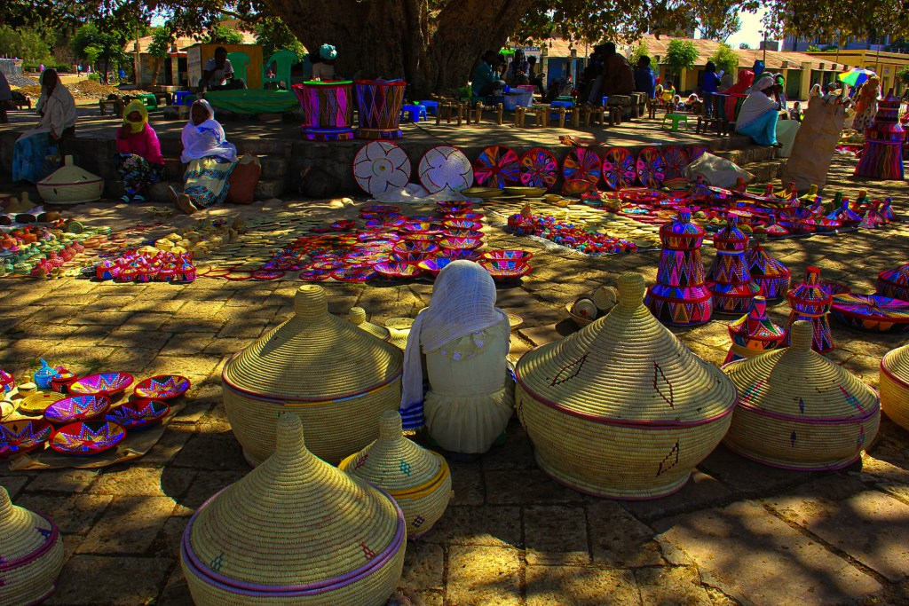 The Saturday basket market in Aksum in Ethiopia