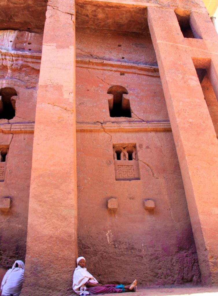Lalibela pinkish sandstone church