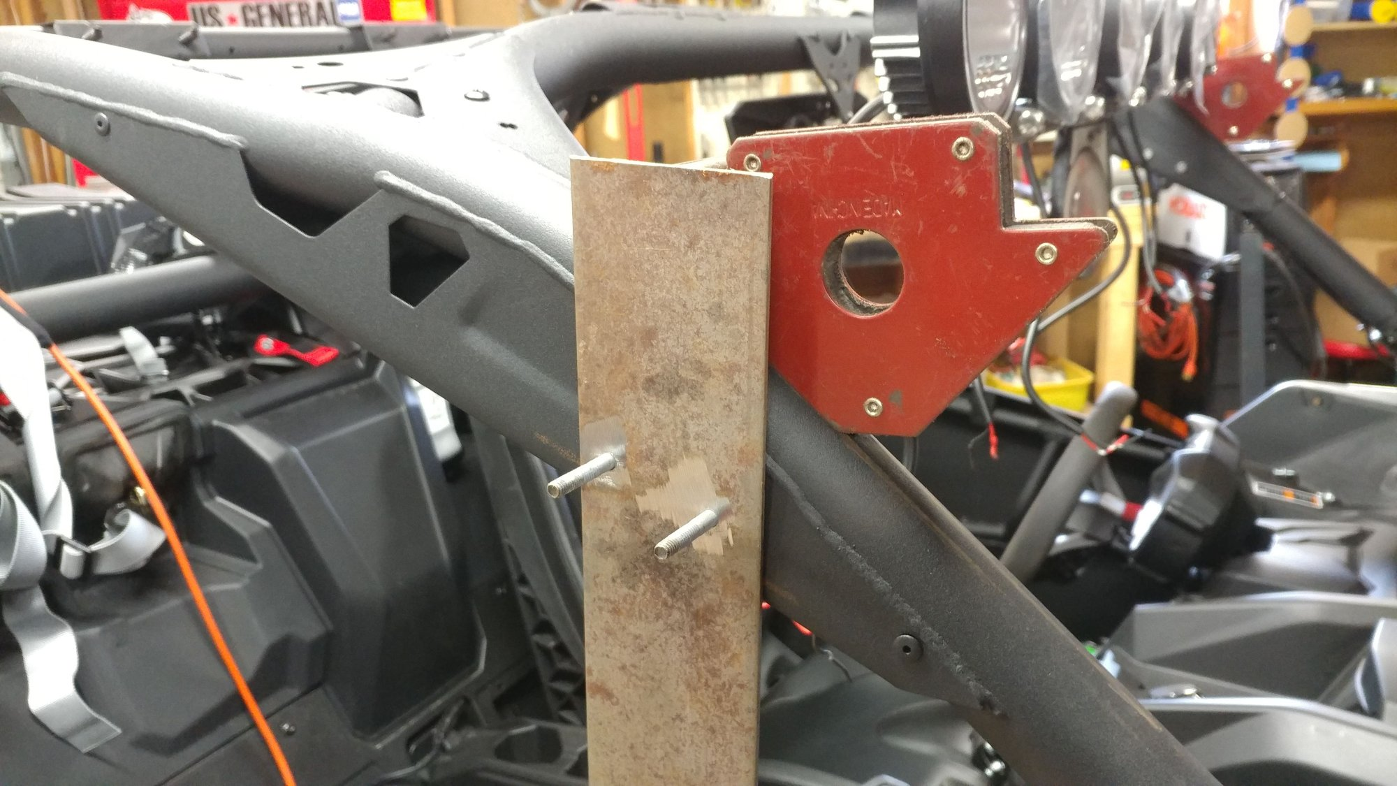 hight resolution of i got the length for the cross bar by mounting a piece of 3 16 plate on the a pillar on each side and measuring the distance