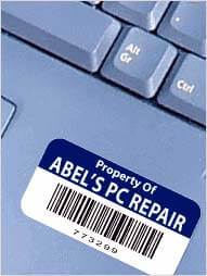 asset tag in blue with barcode