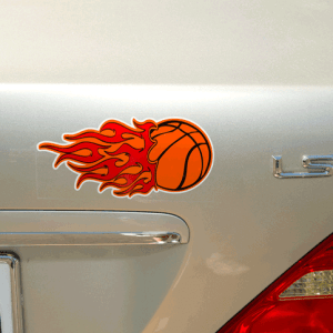 Flaming basket ball weatherproof label on car trunk