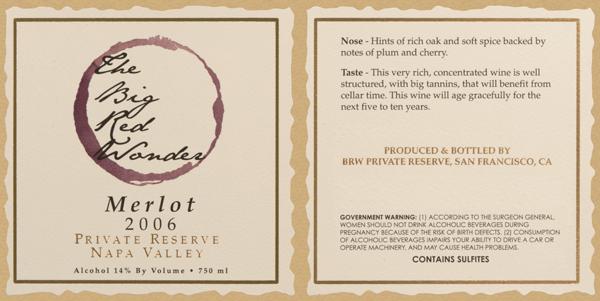 Wine bottle label for The Big Red Wonder