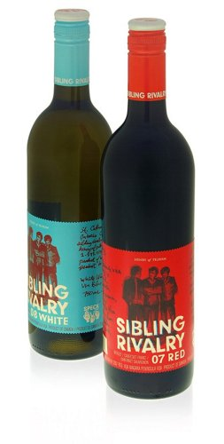 Sibling Rivalry creative wine label