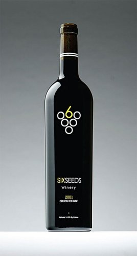 Six Seeds Winery wine bottle with creative wine label